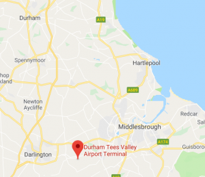 Durham Airport taxi route